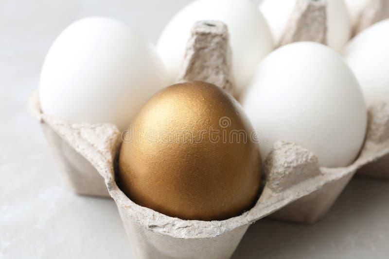 Коробка с золотым яйцом и другие на светлой предпосылке стоковая фотография