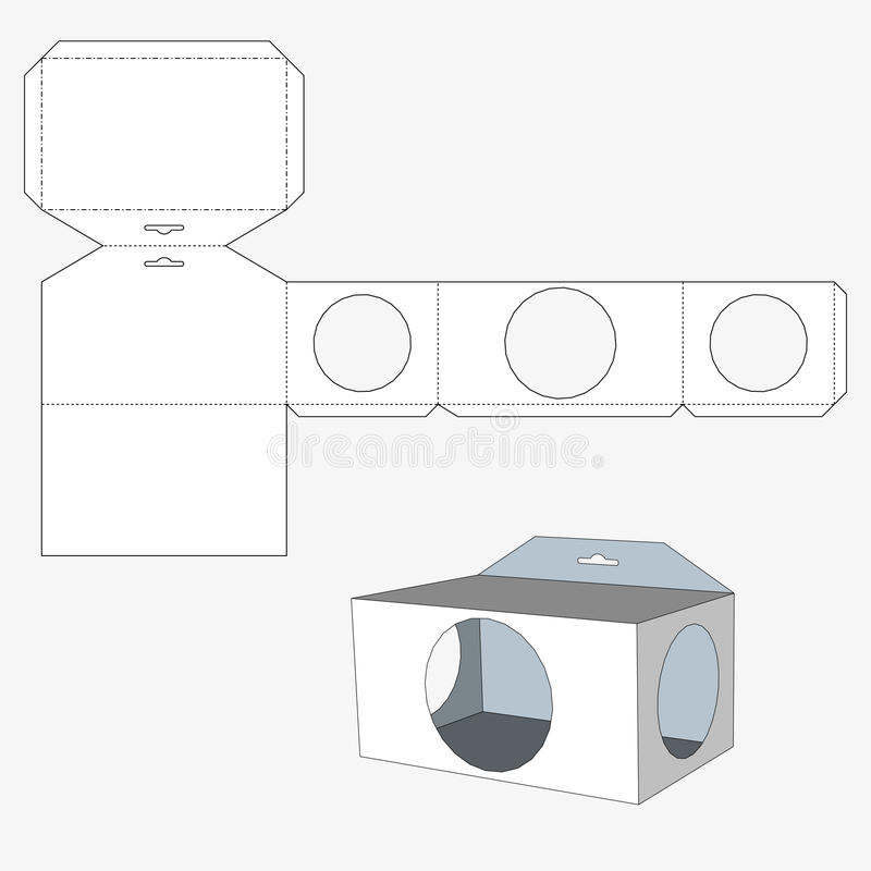 Коробка с окнами circl Коробка упаковки для еды, подарка иллюстрация вектора