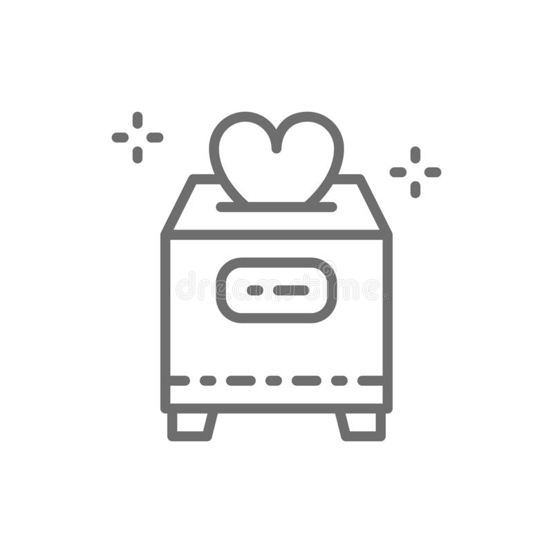 Коробка с пожертвованиями, день Валентайн, призрение, вызываясь добровольцем, линия любов значок иллюстрация штока
