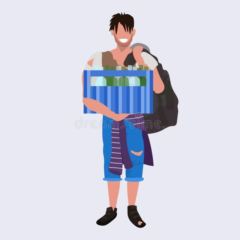 Коробка удерживания попрошайки бедного человека с парнем бомжа бродяги бутылок умоляя бездомной безработной концепции плоско во в иллюстрация вектора