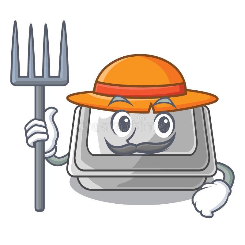 Коробка фермера пластиковая изолированная в мультфильме иллюстрация штока