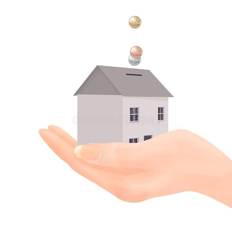 коробка чеканит родовые деньги дома руки иллюстрация штока