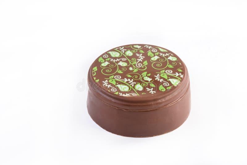 Коробка шоколада с зеленым украшением стоковое изображение
