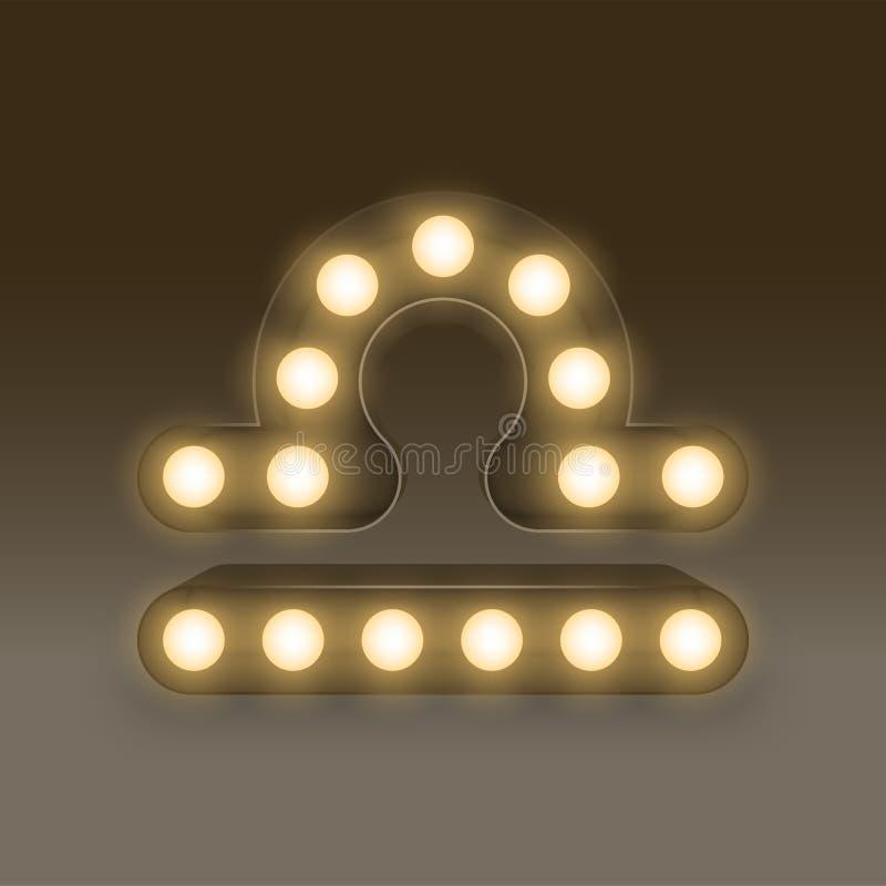 Коробка электрической лампочки знака зодиака Libra раскаленная добела, стиль 3D иллюстрации ретро иллюстрация вектора