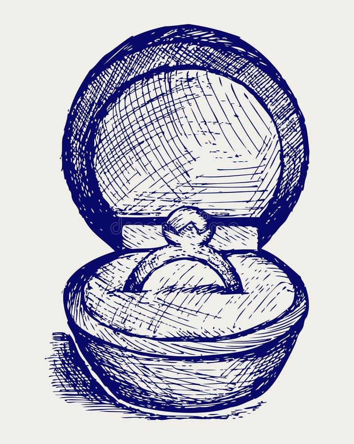 Коробка ювелирных изделий. Тип Doodle иллюстрация штока
