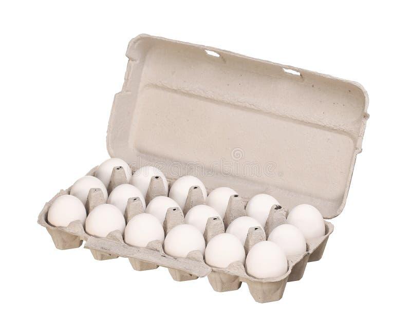 Коробка яичка картона при белые яичка цыпленка изолированные на белизне стоковая фотография rf