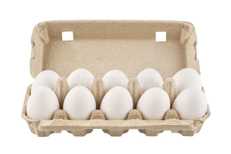 Коробка яйца картона с 10 яйцами o стоковое фото