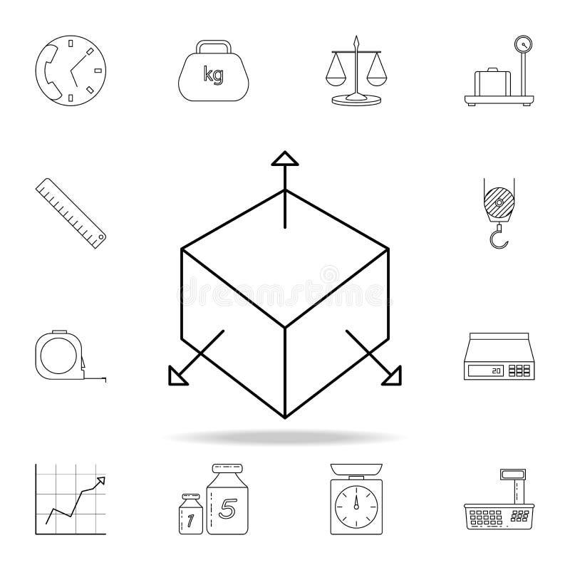 коробка 3d с значком стрелок Детальный набор значков измеряя аппаратур Наградной графический дизайн Один из значков собрания для бесплатная иллюстрация