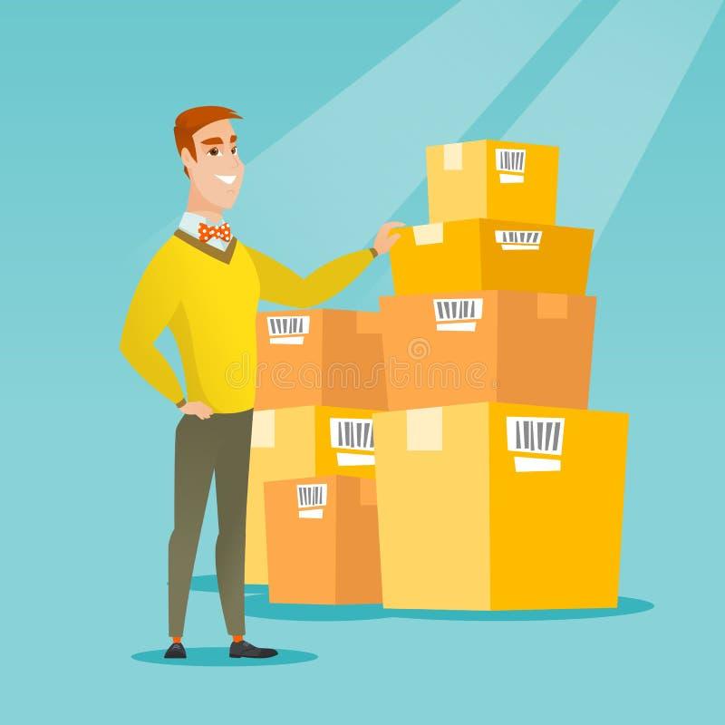 Коробки бизнесмена проверяя в складе бесплатная иллюстрация