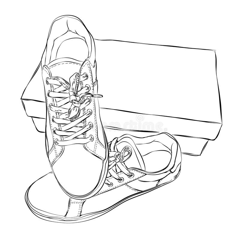 Коробки ботинка с эскизом тапок изолированные на белой предпосылке иллюстрация вектора