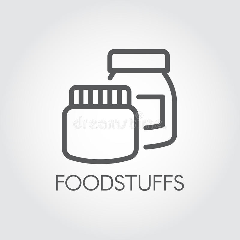 Коробки кухни для различных продуктов и ингридиентов Схематический значок в линейном стиле Ярлык контура продтоваров бесплатная иллюстрация