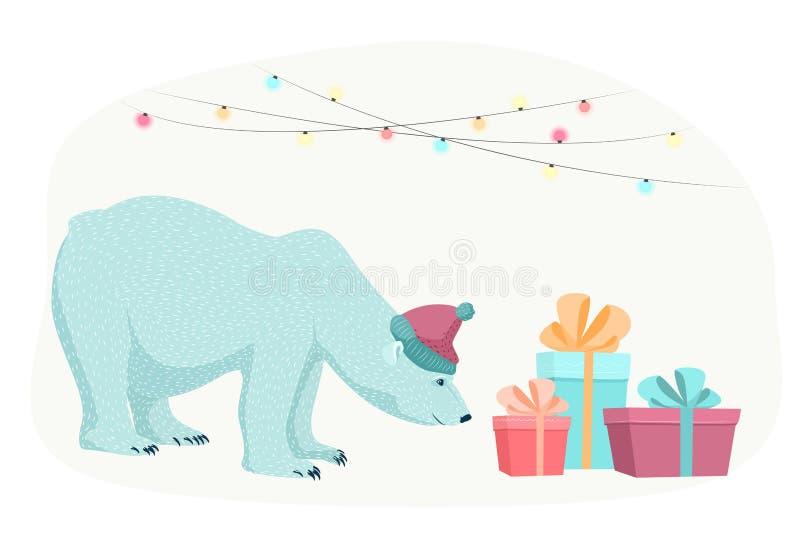 Коробки настоящих моментов подарков рождества Нового Года полярного медведя бесплатная иллюстрация