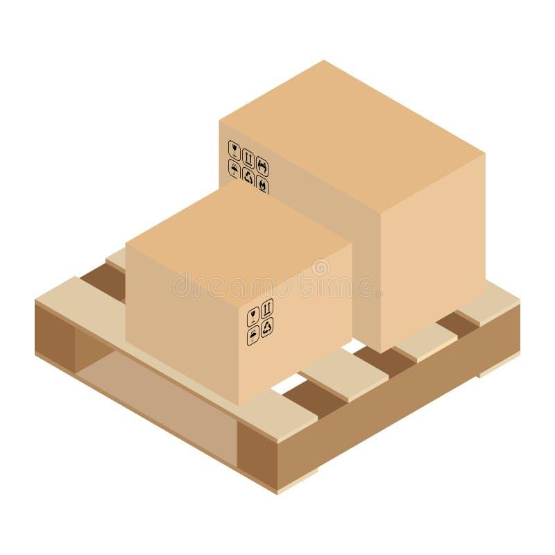 Коробки на векторе клети паллета бесплатная иллюстрация