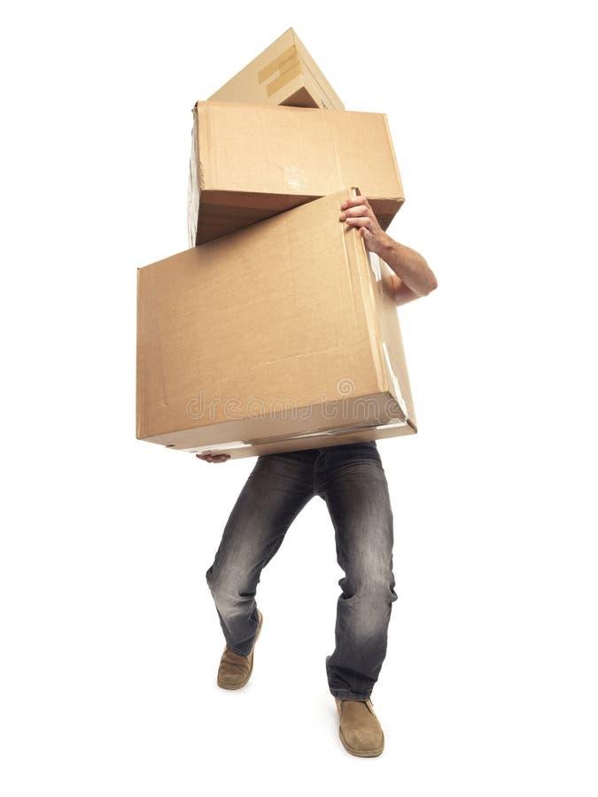 Коробки нося и поднимаясь - изображение запаса стоковые изображения rf