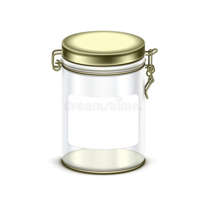 Коробки опарника вектора контейнер прозрачной пустой стеклянной упаковывая иллюстрация вектора