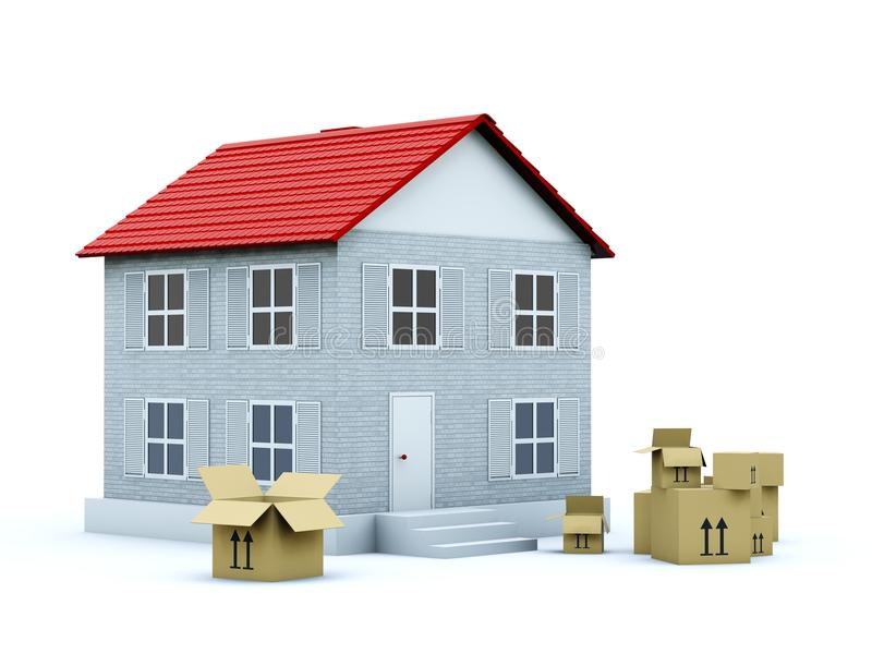 коробки опорожняют дом иллюстрация штока