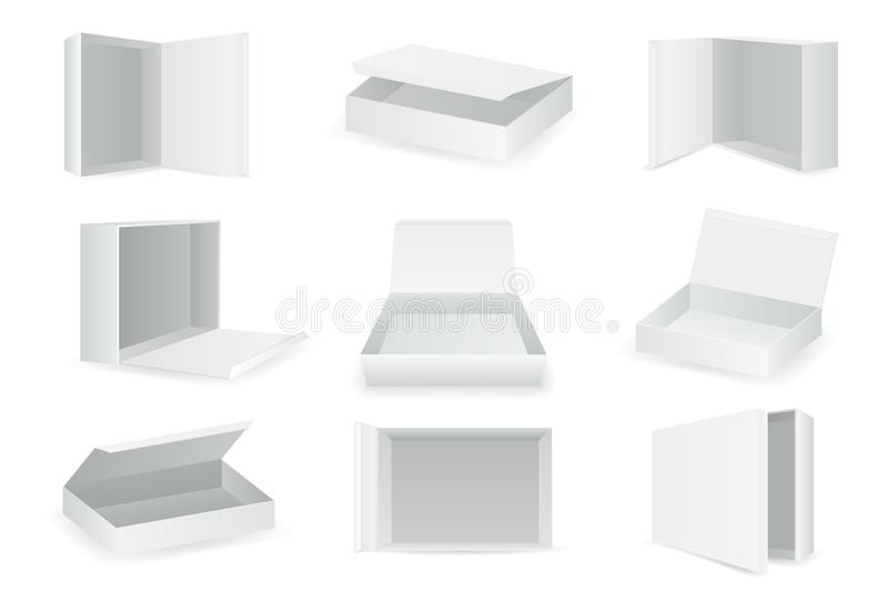 Коробки пакета картона белой бумаги равновеликая открытая пустая коробка пакета изолировала значки установили реалистический вект бесплатная иллюстрация