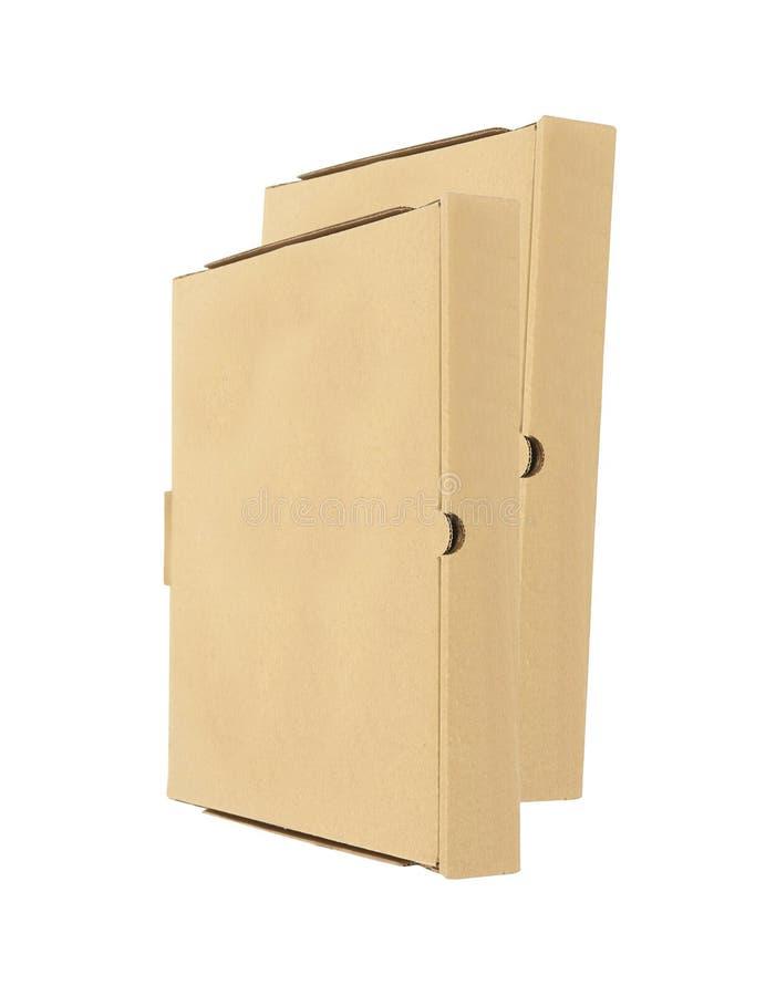 2 коробки пиццы изолированной на белизне стоковые фотографии rf