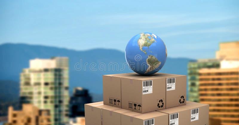 Коробки поставки с глобусом и городом мира бесплатная иллюстрация