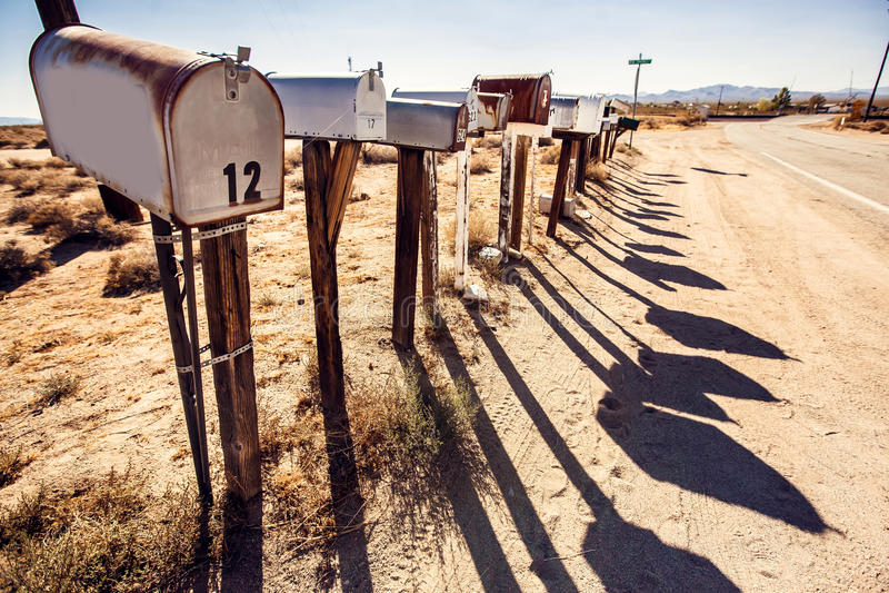 Коробки почты на пустыне Аризоны стоковые изображения rf