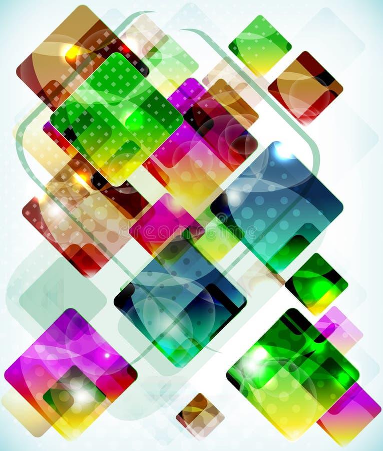 Коробки предпосылки абстрактной технологии vith падая покрашенные иллюстрация штока