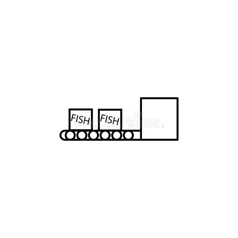 коробки рыб на значке конвейерной ленты Элемент значка рыбной промышленности для передвижных apps концепции и сети Тонкая линия к иллюстрация вектора