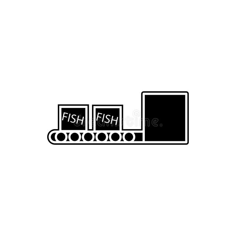 коробки рыб на значке конвейерной ленты Элемент продукции рыб для мобильных концепции и значка приложений сети Глиф, плоский знач иллюстрация вектора