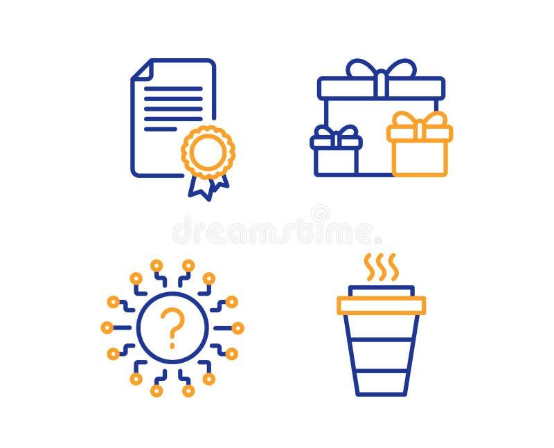 Коробки сюрприза, вопросительный знак сертификата и набор значков r Праздничные подарки, диплом, болтовня викторины r иллюстрация вектора