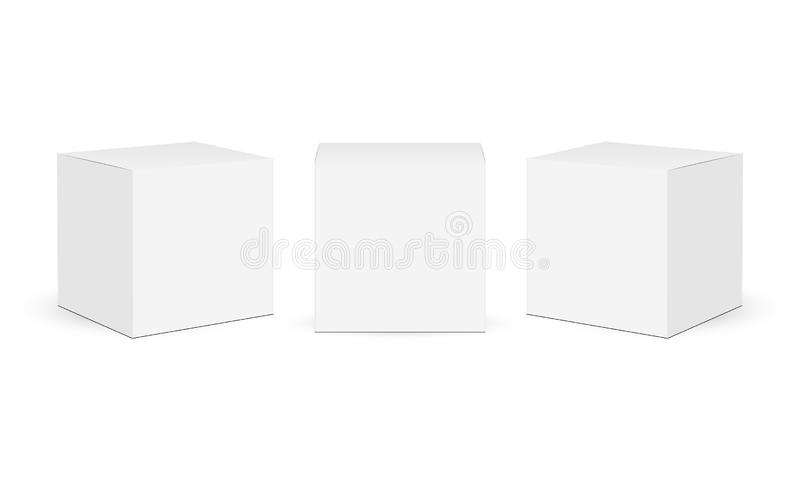 Three square paper boxes mockups isolated on white background stock illustration