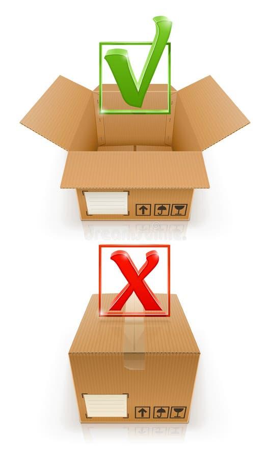 Коробки с О'КЕЙ и меткой cancel иллюстрация вектора