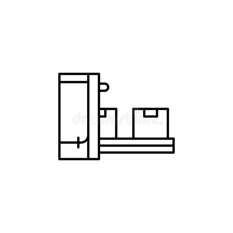 коробки, фабрика, значок продукции Элемент значка продукции для передвижных apps концепции и сети Тонкая линия коробки, фабрика,  иллюстрация вектора