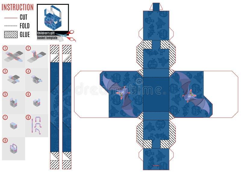 Коробки шаблона для помадок с мышью пурпура летания бесплатная иллюстрация