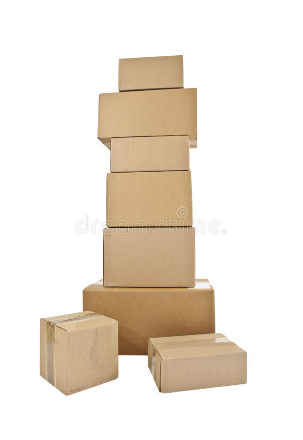 коробки штабелируют высокорослое стоковое изображение rf