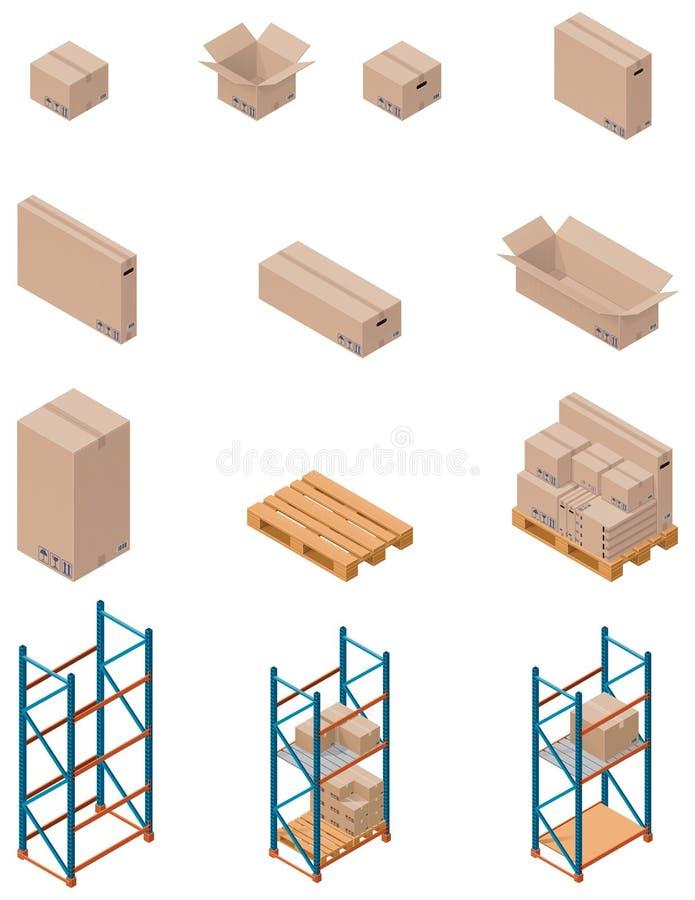 коробки shelving вектор бесплатная иллюстрация