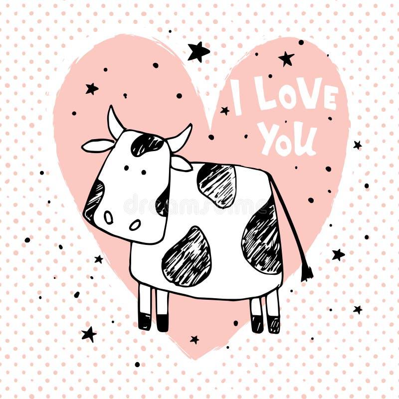 Корова влюбленности иллюстрация штока