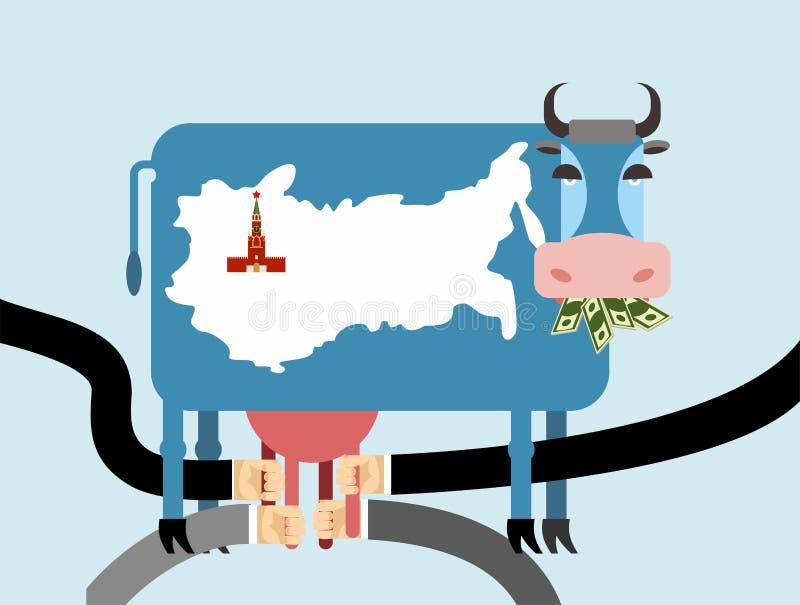 Корова ест деньги, доллары Карта России Москвы Кремля на коже o иллюстрация штока