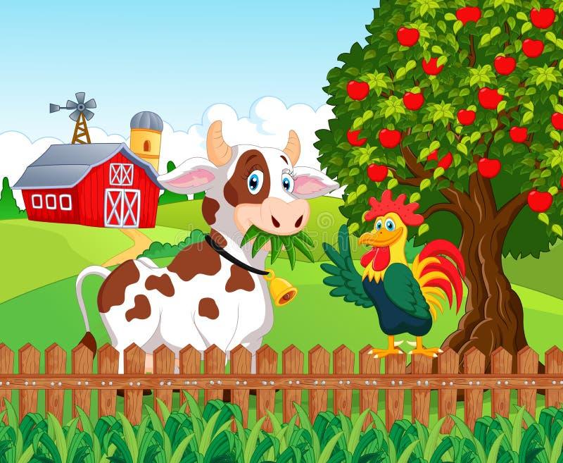 Корова и цыпленок шаржа счастливые в ферме бесплатная иллюстрация