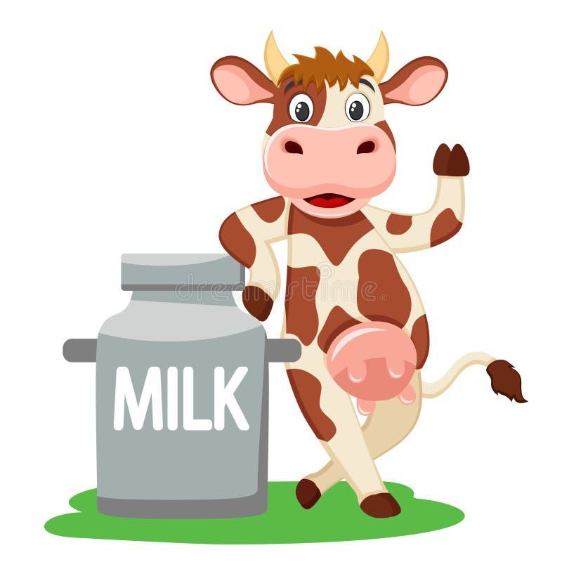 Корова положилась на консервной банке молока и развевать его копыто на белом иллюстрация вектора