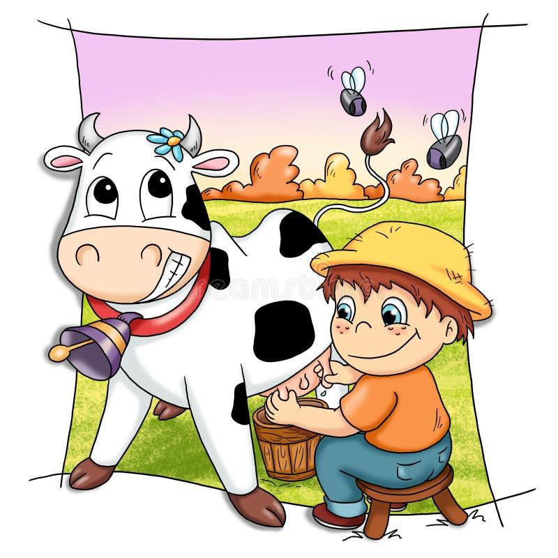 корова счастливая иллюстрация вектора