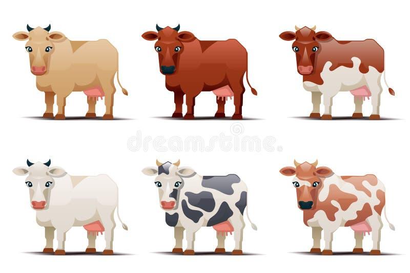 Коровы других цветов на белой предпосылке иллюстрация вектора