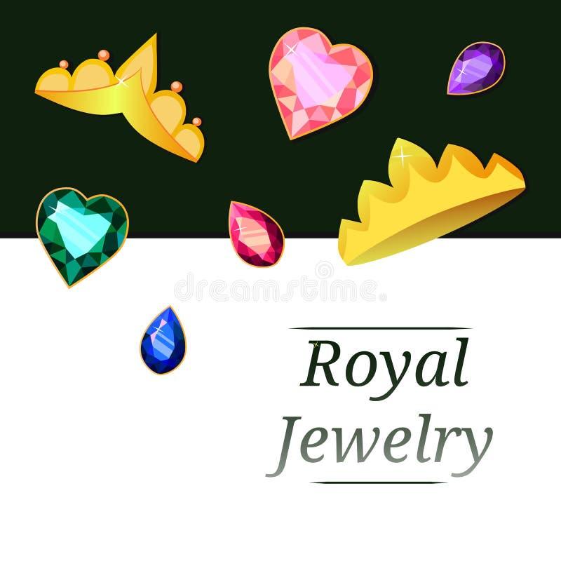 Королевские драгоценности в форме крон и камней стоковые изображения rf