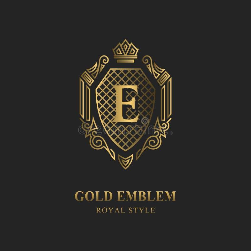 Королевский дизайн вензеля Роскошный объемный шаблон логотипа 3d линия орнамент Эмблема с письмом e для знака дела, значка, гребн иллюстрация штока