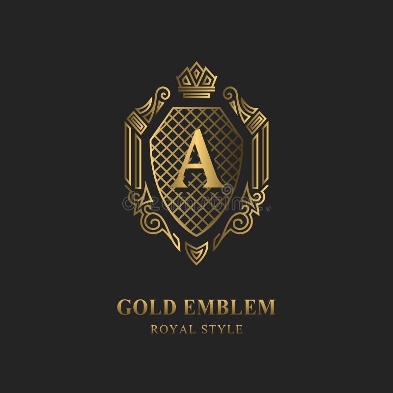Королевский дизайн вензеля Роскошный объемный шаблон логотипа 3d линия орнамент Emblem с письмом a для знака дела, значка, гребня иллюстрация вектора