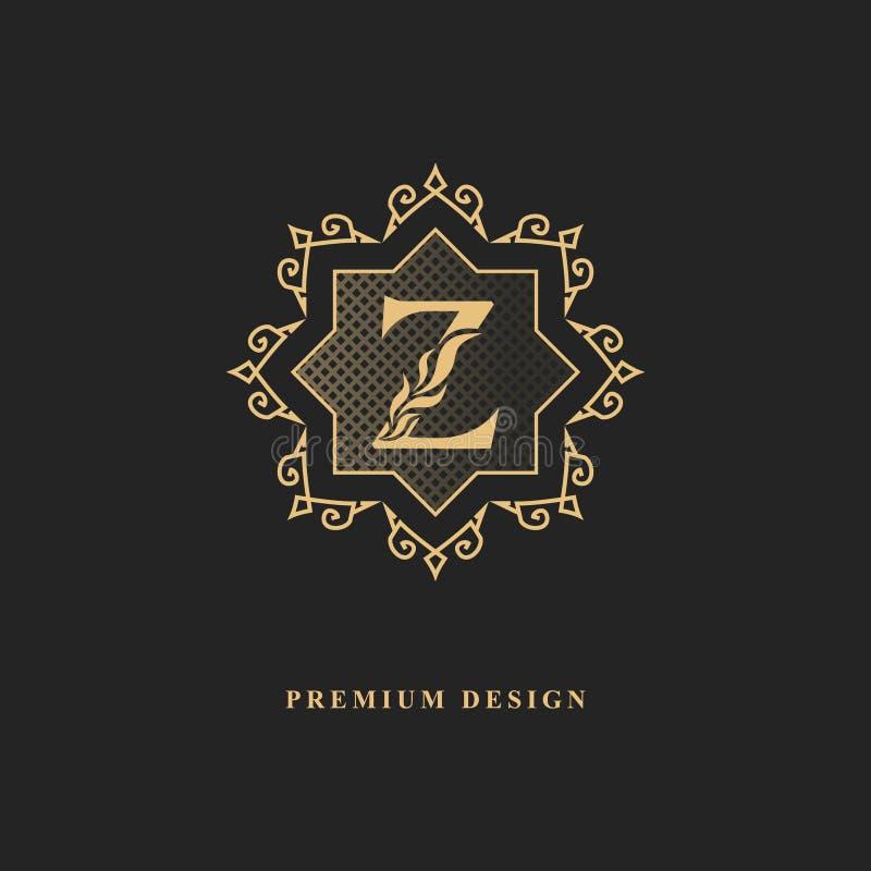Королевский дизайн вензеля Роскошный объемный шаблон логотипа 3d линия орнамент Эмблема с письмом z для знака дела, значка, гребн иллюстрация вектора