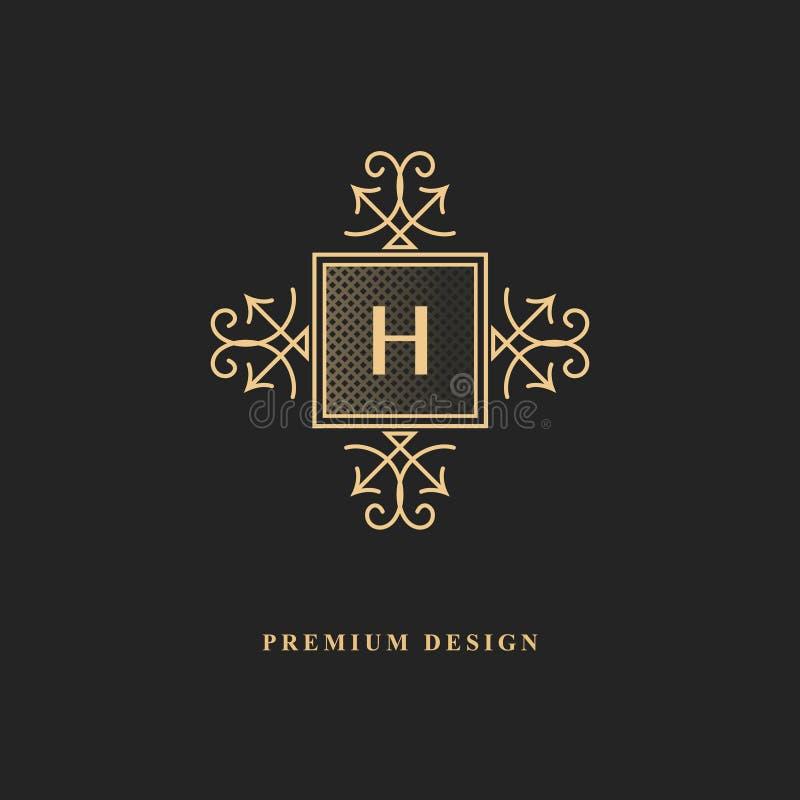 Королевский дизайн вензеля Роскошный объемный шаблон логотипа 3d линия орнамент Эмблема с письмом h для знака дела, значка, гребн иллюстрация вектора