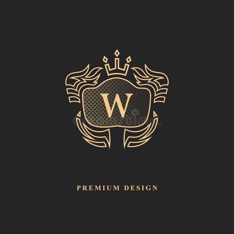 Королевский дизайн вензеля Роскошный объемный шаблон логотипа 3d линия орнамент Эмблема с письмом w для знака дела, значка, гребн иллюстрация штока