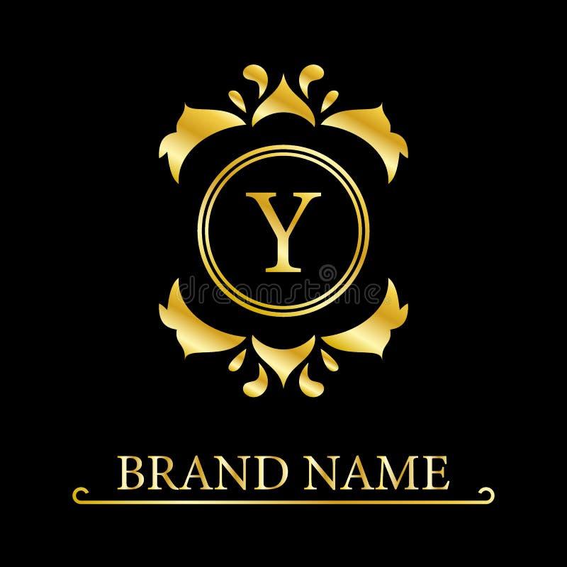 Королевский дизайн вензеля Роскошный объемный шаблон логотипа 3d линия орнамент Эмблема с письмом y для знака дела, значка, гребн иллюстрация вектора