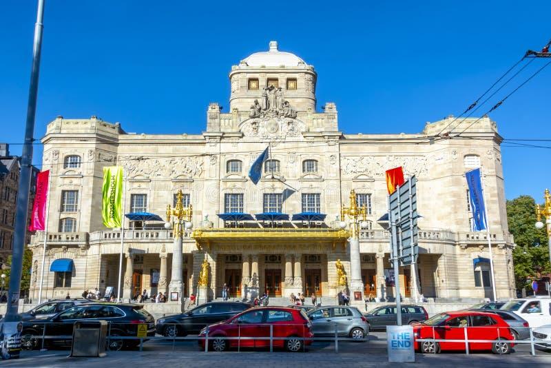 Королевский драматический фасад театра, Стокгольм, Швеция стоковые фотографии rf