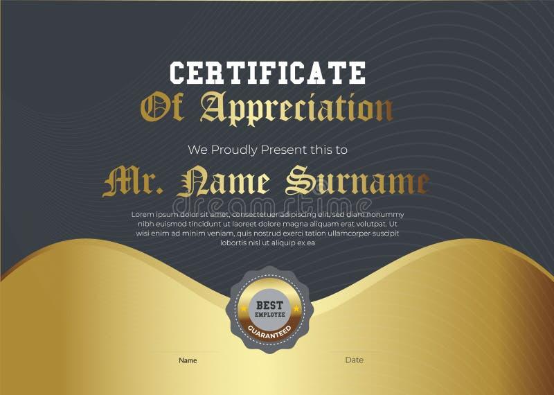 Королевский золотой сертификат шаблона благодарности Ультрамодный геометрический дизайн Наслоенный вектор eps10 r стоковое изображение rf