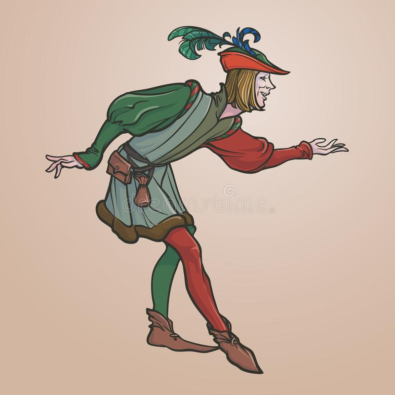 Королевский придворный льстец в обхватывая позиции иллюстрация штока